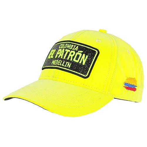Gorra El Patrón amarillo fluorescente con pedrería negra Medellin Colombia béisbol – Unisex amarillo Talla única