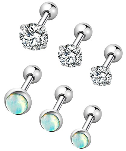 YOVORO 6Pcs 16G 316L Stainless Steel Stud Earrings for Women Cartiliage Earring Tragus Helix Piercing Created-Opal 3/4/5MM