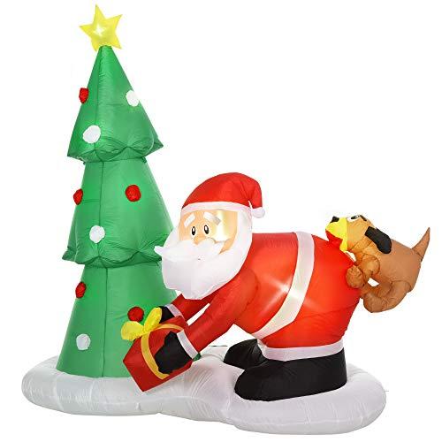 homcom Babbo Natale Gonfiabile Gigante 210cm da Interno e da Esterno, Impermeabile con Albero di Natale e 13 Luci a LED