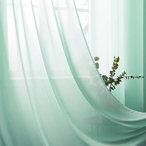 Topfinel Voil Vorhänge aus Chiffon mit Ösen Halbtransparente Dekoschal für Wohnzimmer Schlafzimmer 2er Set je 245x140cm (HxB) Mintgrün