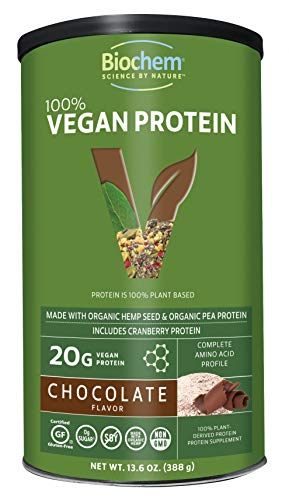 Biochem 100% Vegan Plant Protein - Chocolate - 11.4 oz - Easily Digestible - KETO-Friendly - Amino Acid - Cranberry - Hemp Seed - Pea Protein - Supports Healthy Immune System - Refreshing