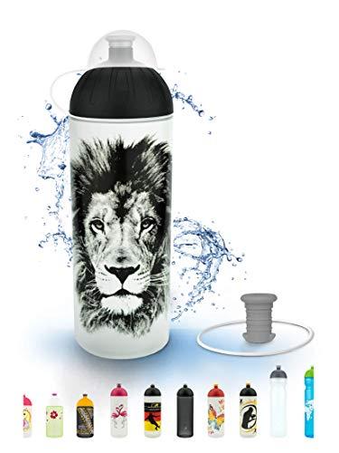 FreeWater Trinkflasche 700 ml, Löwe, transparent: schadstofffrei, spülmaschinengeeignet, auslaufsicher, langlebig