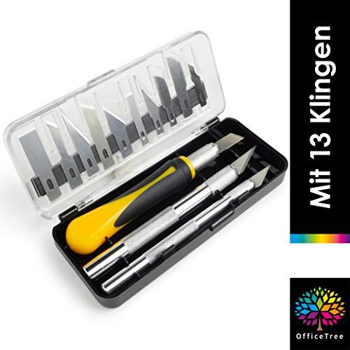 OfficeTree 3x Bastelmesser Skalpell Set 16 tlg. Bastel Zubehör mit 3 verschiedenen Messern und 13 Ersatzklingen - Cuttermesser Basteln als Bastelwerkzeug