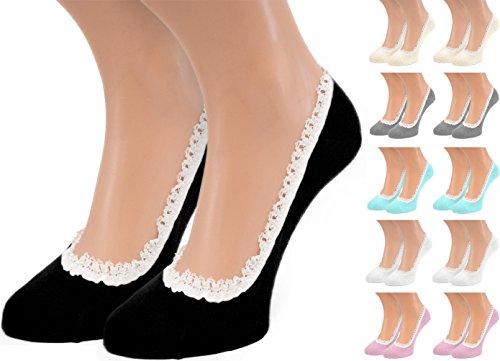 Brubaker 12 Paar Füßlinge Ballerina Sneakersocken Baumwolle mit Rüschen Gr. 36 - 41