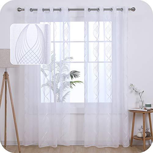 Amazon Brand - Umi Tende Trasparenti in Voile Modello a Spirale Ricamato per Salotto Moderne con Occhielli 140x260cm Bianco 2 Pannelli