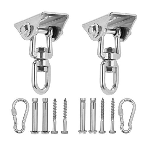 Queiting Set of 2 Permanent Antirust Stainless Steel 304 Heavy Duty Swing Hangers with 4 Lag Screws 1000LB Capacity for Chair Yoga Hammock Rope Tire Pod Bed Swing