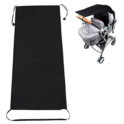 Kinderwagen Sonnensegel, Huttoly Universal Sonnensegel für Kinderwagen/Babywanne, UV Schutz Beschichtung 50+ Sonnenschutz für Babys Sonnensegel mit Tasche - Schwarz