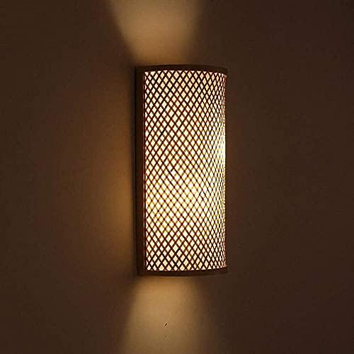 HTL Lámpara de Pared de Lectura Iluminada Apliques Interior Lámpara de Pared Creativa Moderna/Bambú Mimbre Rattan Sombra Túnel Lámpara de Pared Accesorio Aplique Rústico Luz Dormitorio Mesita de No