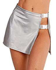 Venture into an alternate universe in our Fast Times Reflective Mini Skirt. Stay lookin' trendy in our grey rave bottom that has a side slit with a dual white buckle closure. You'll be the hottest baelien at your next event. ** Booty Shorts not inclu...