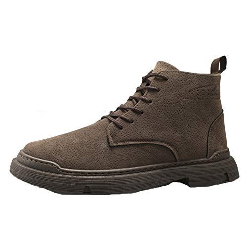 LangfengEU Chaussures à Lacets d'hiver pour Hommes Haut de Gamme Chaud en Peluche en Plein air décontracté Rue Marche Classique Bottes en Cuir antidérapantes