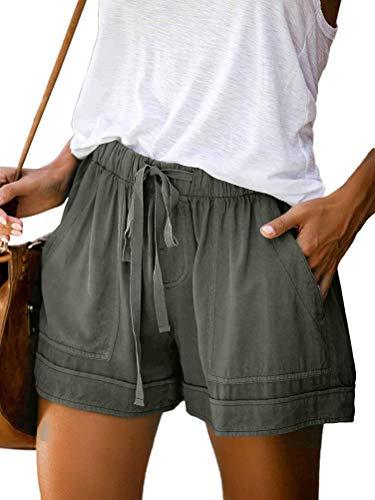 Onsoyours Shorts Damen Sommer High Waist Kurze Hose Einfarbig Strand Shorts Freizeitshorts Bermuda Shorts Mit Tunnelzug A Grün XL
