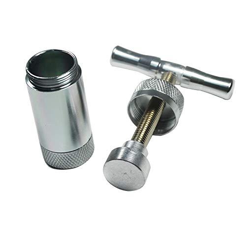 Tech-L Pollen T Press Squeezer Grinder Gewürzbrecher T Griff Robuster Metallkompressor Knoblauchbrecher mit Geschenkbox (Silber)
