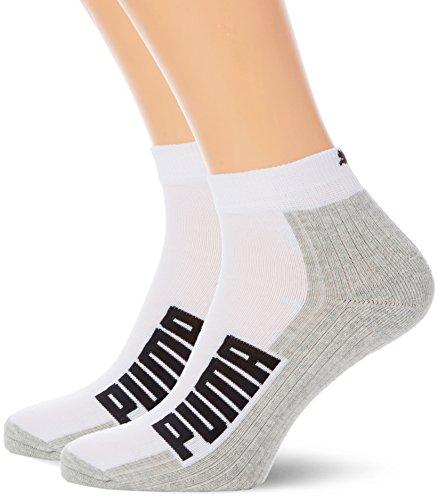 PUMA Herren CUSHIONED QUARTER 2P Socken, White/Grey/Black, 43-46