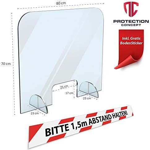 Kassenbereich und Empfang als Hygieneschutz Spuckschutzwand 500 x 750 mm f/ür Theke