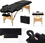 2 Fold Black Wooden Super Soft Multi-Function Massage Table, Lightweight and Portable Coach