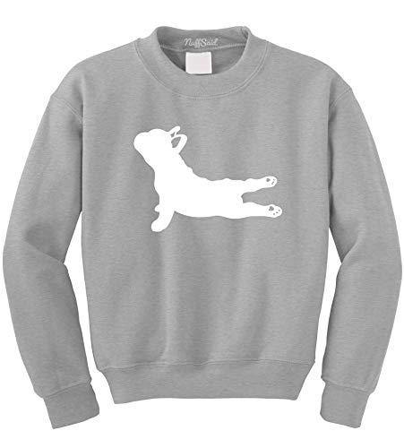 NuffSaid Yoga French Bulldog - Crewneck Sweatshirt Sweater Pullover Hoodie - Unisex- Namaste Yoga - Namastay in Bed - Yoga Dog (Large, Sport Grey)