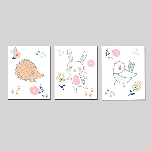 Canvas Wall Art Prints for Girl Woodland Animals Nursery Woodland Nursery Bunny Nursery Tribal Nursery Hedgehog Bird Nursery Decor Ready to Hang Printing Gift for Home Decoration 12x16, 3 Panels