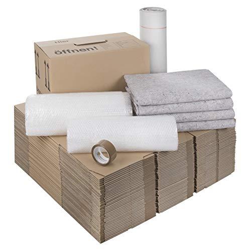 1 Umzugskomplettpaket (2 bis 3-Zimmer-Wohnung) mit 40 Umzugskartons (Profi) + Luftpolsterfolie + Seidenpapier + Klebeband