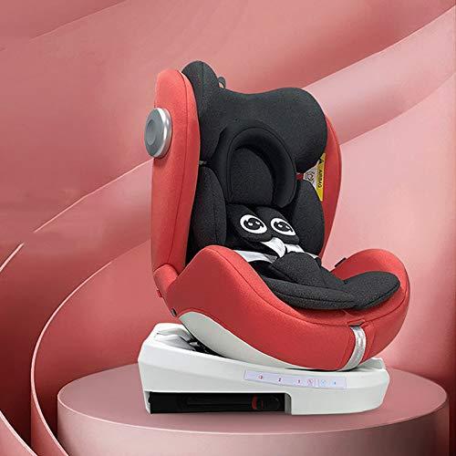 QYT-Silla de Coche Reclinable para Bebé 0-36 Kg con Isofix, Grupo 1/2/3 para Niños de 1 a 12 Años, Fácil de Instalar, Reposacabezas Ajustable,Rojo