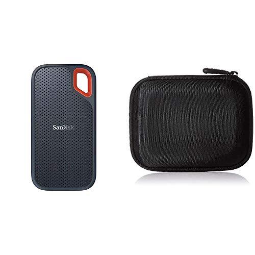 SanDisk Extreme Portable SSD Externe Festplatte 500GB (SSD 2,5 Zoll, 550 MB/s Übertragungsraten, stoßfest, AES-Verschlüsselung,Wasser- und staubfest) grau & Amazon Basics Festplattentasche, schwarz