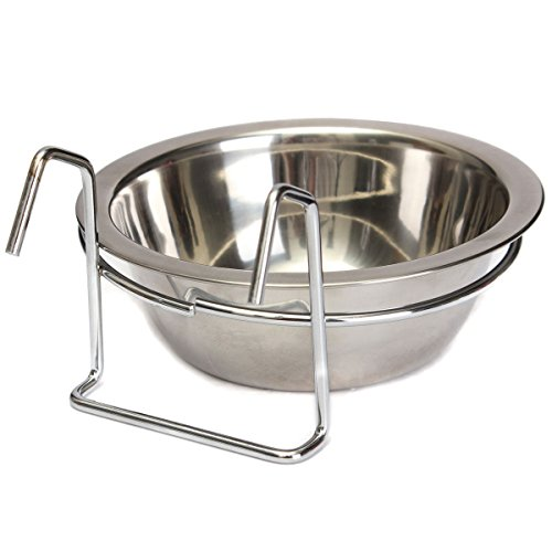 Yosoo Stainless Steel Hook on Feeding Dog Bowl Pet Rabbit Bird Cat Dog Food Water Cage Cup Crate Cup with Clamp Holder (M)