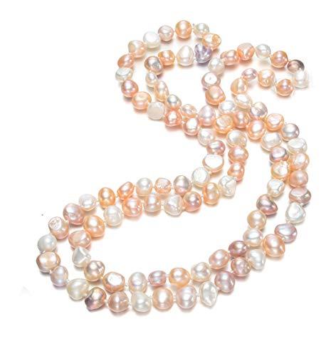 TreasureBay 120cm Multi Colours Baroque Pearl Necklace for women