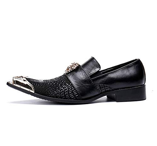 Phil Beauty Negro Moda Masculina Casual Cuero Planchado Taladro Personalidad Textura Metal Toe Zapatos Formales Discoteca Bajos Británicos para Hombre Negocios Zapatos Tendencia,Eu43