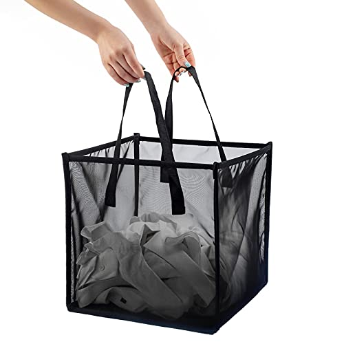 HMLINYAO Mesh Popup Laundry Hamper ,With Handles,Portable and Collapsible Laundry Basket,Used for Laundry Room,Student Dormitory or Travel Storage (Black,Single-Layer)