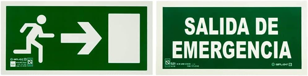 Astlight Sal5215.7F Señal De Evacuación Direccional Fotoluminiscente, Multicolor+ Sal5455.7Fad Señal De Salida De Emergencia Fotoluminiscente, Multicolor