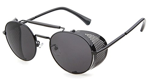 Flowertree STY056 Metal Frame Mesh Fold-in Side Shield Round 52mm Sunglasses, C1-black+grey, Medium