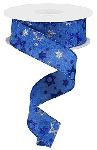 Craig Bachman 1.5' Star of David Royal Ribbon: Royal Blue (10 Yards) - Hanukkah Ribbon