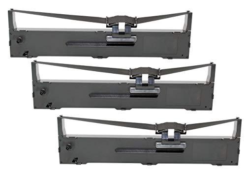 OBV 3X kompatibles Farbband als Ersatz für Epson C13S015337 / C13S015329 für Epson LQ590 / FX 890 / FX890 / LQ 590 / FX-890 / LQ-590 schwarz