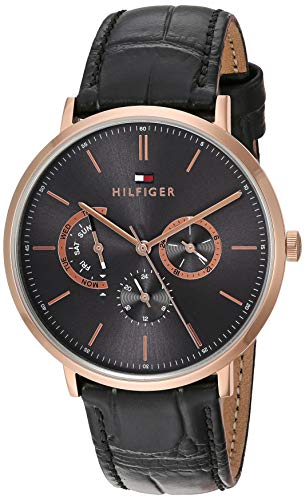 Tommy Hilfiger Men's Gold Quartz Watch with Leather Calfskin Strap, Black, 20 (Model: 1710377)
