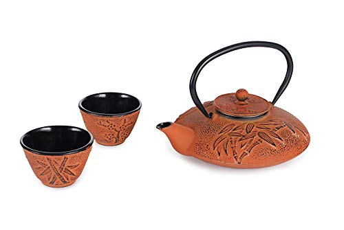Hinomaru Collection Rikyu Japanese Cast Iron Tetsubin Tea Set Including Teapot 26 Fl Ounce with Stainless Steel Infuser 2 Enameled Cast Iron Tea Cups Gift Packaging (Bamboo Orange)