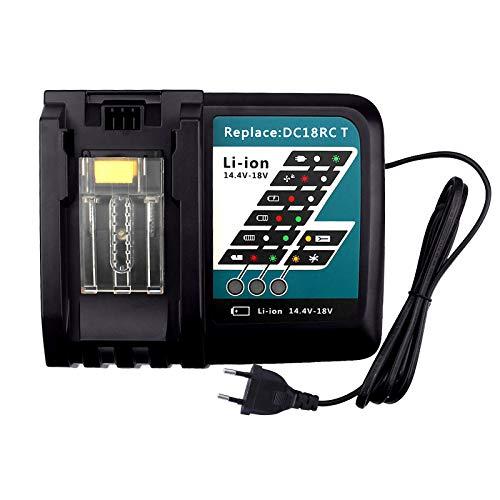 FUNMALL 14.4V-18V 7A Cargador de Repuesto con Pantalla LCD para Makita DC18RC Cargador Rápido de Baterías BL1860 BL1850 BL1845 BL1840 BL1835 BL1830 BL1815