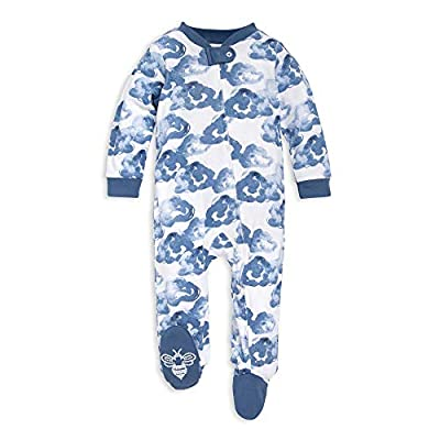 Burt's Bees Baby Unisex Baby Sleep & Play, Organic Pajamas, NB-9M One-Piece Zip Up Footed PJ Jumpsuit, Moonlight Clouds, 0-3 Months