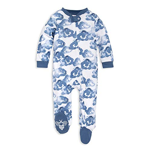 Burt's Bees Baby baby girls & Play, Organic One-piece Romper-jumpsuit Pj, Zip Front Footed Pajama and Toddler Sleepers, Moonlight Clouds, 3-6 Months US