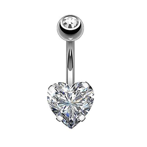 Navel ring Anti-allergische Dikke Naald Roestvrij Staal Hartvormige Diamant Navelpiercing Body Jewelry Ochre Loodvrij Nikkel Badmode Nachtclub Party