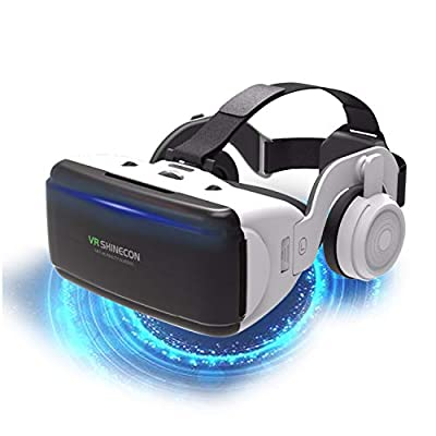 VR Headset,Virtual Reality Headset Adjustable 3D VR Glasses with Headphone for Movies Video Games Universal VR Glasses for iPhone Android and Other Phones- Gift for Kids and Adults…