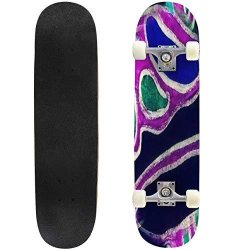 31'' Complete Skateboard Seamless Neuron Cell Neuro Swirled Texture Human Neuron Cell Crayon Standard Skateboard for Beginners Kids Adults, Maple Double Kick Deck Concave Skate Board Longboard