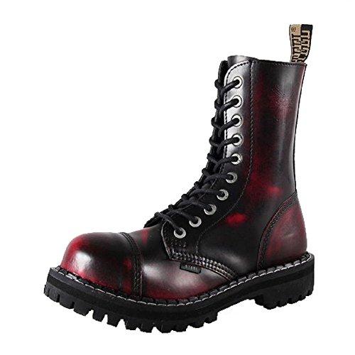 Steels 10 Loch Boots Burgund Rub Off, Grösse 43