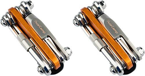 AceCamp 2 x All-In-One Bike-Tool, Multitool, Minitool, Multifunktionswerkzeug für Fahrradreparatur, 14 in 1 Set, 187 g, Orange, Silber, Doppelpack 2565