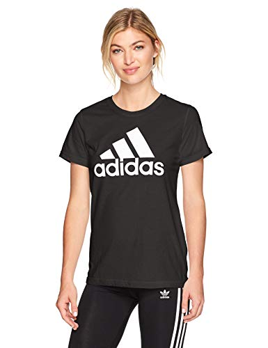 adidas Women's Must Haves Badge of Sport Tee, Classic Black/White, Small