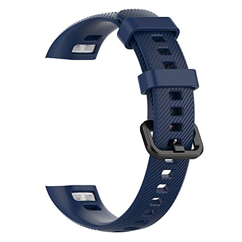 LLMXFC LAFORUTA Ehre Band 5 Gurt Silikon Uhrenband für Huawei Honorband 4 Frauen Männer Armband Fitness-Loop Smart Watch-Handgelenkband (Band Color : Navy Blue)