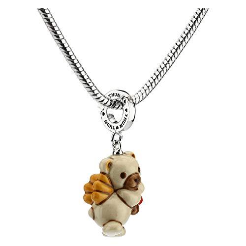 THUN - Charm Special Icon Orsetto Teddy Cupido per Bracciale e Collana - Gioielli Donna - Linea Tell Me Your Love - Bronzo Rodiato, Ceramica