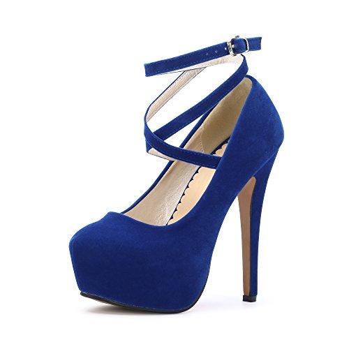 Ochenta, scarpe da donna, con cinturino alla caviglia e plateau, con tacco alto, per feste, eleganti, Blu ((Beige Sole) Blue), 44 EU