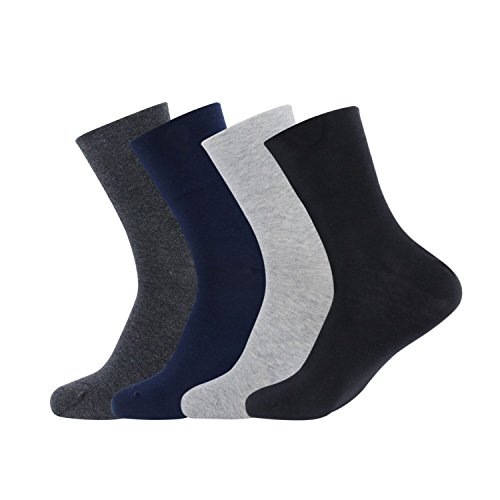 Gather Other 4 Pairs Men's Casual Crew Cotton Business Socks with Non Binding Wide Top