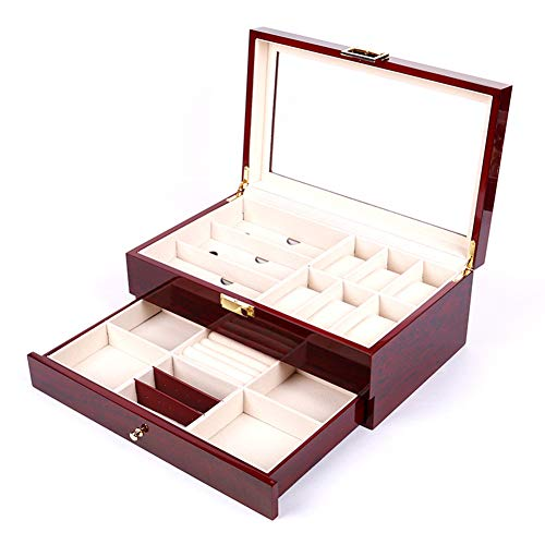 Cakunmik Maleta portátil Pantalla de 2 Capas, Cuero de la PU Moderna con Cubierta Transparente del cajón, Caja de Reloj de 6 dígitos + Caja de Gafas de 3 dígitos, joyería, Caja de Collar