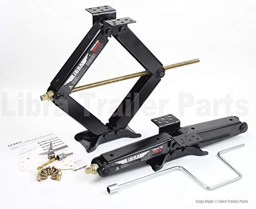 "LIBRA Set of 2 True 7500 lb Heavy Duty 24"" RV Trailer Stabilizer Leveling Scissor Jacks w/Handle & Dual Power Drill Sockets & Complete Set of Mounting Hardware -Model# 26055 …"