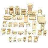 Juguetes de la casa de bricolaje Muebles 3d sentido de la orientación Puzzle kit modelo hecho a mano juguetes de bricolaje Mini 34pcs / set Niños Educativo casa de muñeca Accesorios Para adolescentes